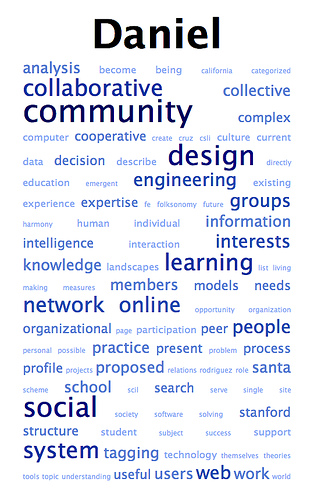 Word cloud for Daniel Steinbock, circa 2006